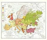 National Geografic – Races of Europe 1918 Postkrieg – Historische Wall Map Serie – 63,5 x 55,9 cm – Papier gerollt