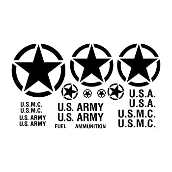 Military Vehicle Truck Restoration Decal Sticker Kit - U.S Army Marine MP M37 M38 Compatible with Wrangler Willys - Invasion Victory Freedom Star Block Letter Style - in Black Gloss
