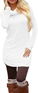 Pink Queen Women's Casual Long Sleeve Slim Ruched Tunic T-Shirt Dress