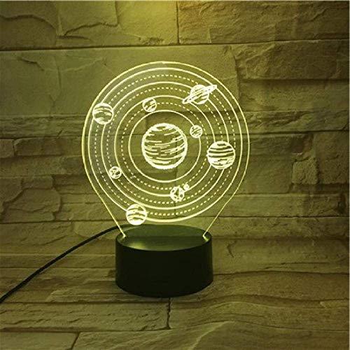 3D ilusión luz led noche sistema solar nueve baterías planetarias funcionamiento rápido decoración interior efecto visual lámpara de escritorio niños regalo de cumpleaños