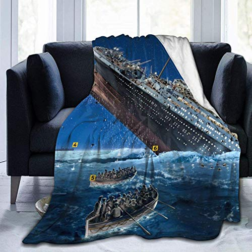 IUBBKI Aire Acondicionado de Manta Flannel Fleece Bed Blankets Lightweight Cozy Throw Blanket for Couch Sofa Bedroom Adults Kids,T-it-a-ni-c Art Print,60'X 50'