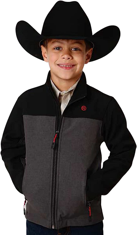 Roper Boys' Heathered Grey Color Blocked Hi Tech Fleece Softshell Jacket Grey Large