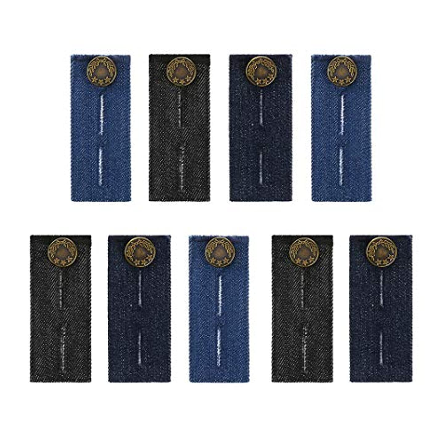 Waist Extenders with Metal Buttons for Pants, Jeans, Trousers and Skirt, Waistband Extenders for Men, Pregnant Women 9 Pack