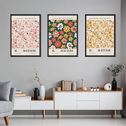 MYBHGRFDG Abstract Flower Market Vintage Minimalista Wall Art Canvas Painting Nordic Poster e Stampe Immagini a Parete per la Decorazione del Soggiorno 40x60cmx3 Senza Cornice