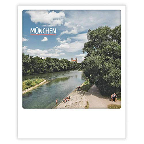 PICKMOTION Photo Postkarte Am Fluss In München Im Polaroid-Stil, Designed In Berlin - 1 Stück