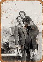 Happy Bonnie and Clyde Portrait 金属板ブリキ看板警告サイン注意サイン表示パネル情報サイン金属安全サイン