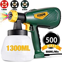 Paint Sprayer, TECCPO 500 Watts Up to 100 DIN-s, 800ml/min HVLP Electric Spray Gun with 1300ml Detachable Container, 3 Copper Nozzles & 3 Spray Patterns, Adjustable Volume Dial for Gardening & Crafts