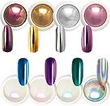 Polvo de uñas cromado, efecto espejo, aurora holográfica, iridiscente, perlado, decoración artística, purpurina, 8 colores, 1 g o 0,5 g/tarro