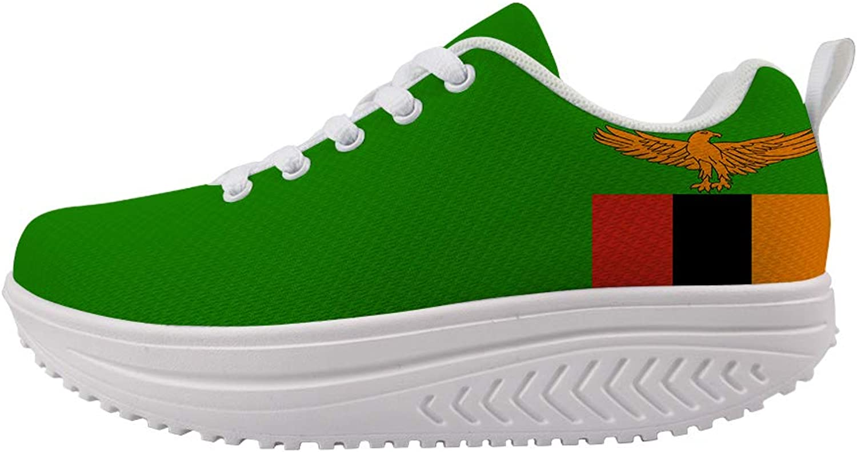 Owaheson Swing Platform Toning Fitness Casual Walking shoes Wedge Sneaker Women Zambia Flag