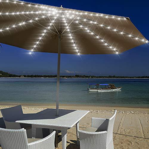Wuudi Sonnenschirmleuchten, Lichterketten, LED-Leuchten mit Fernbedienung 8-Modi-Timer, Sonnenschirm-Lichterketten, Gartenstrand-Außenleuchten, geeignet für Grillparty-Camping, Regenschirmdekoration