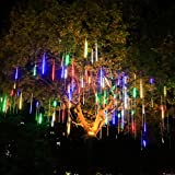 Meteor Shower Lights Christmas Lights Waterproof Plug in Falling Rain Fairy String Lights for Twinkling Romantic Lights for Party Wedding Christmas Halloween 8 Tubes 19.7 inch Colorful