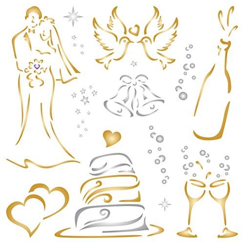 Hochzeit Schablone–wiederverwendbar Groß Braut Bräutigam Kuchen Champagner Tauben Wand Schablone–Vorlage, auf Papier Projekte Scrapbook Tagebuch Wände Böden Stoff Möbel Glas Holz etc. m