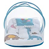 Superminis Multicolor Digital Print On White Base Design Bedding Set Thick Base, Foldable Mattress, Colorful Pillow and Both Side Zip Closure Mosquito Net (12-18 Months, Blue)