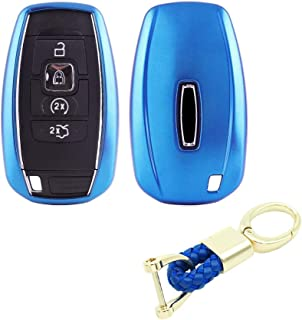 Royalfox(TM) 3 4 5 Buttons TPU Smart keyless Entry Remote Key Fob case Cover Keychain for 2017 2018 2019 Lincoln Continental MKC MKZ Navigator (Blue)