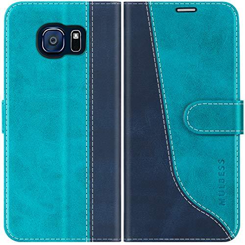 Mulbess Handyhülle für Samsung Galaxy S6 Hülle, Handy Samsung Galaxy S6 Hülle, Leder Flip Etui Handytasche Schutzhülle für Samsung Galaxy S6 Case, Mint Blau