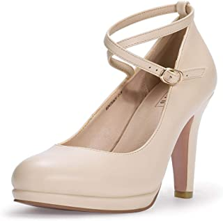 IDIFU Women's RO4 Tracy Buckle Crisscross Strap Platform Pump Round Toe Party High Heels Shoes Beige Size: 9.5