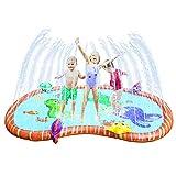 Ulikey Tappetino Gioco d'Acqua, 145cm Splash Play Mat Sprinkler Pad, Gioco da Giardino Gonfiabile Piscina, Tappetino Sprinkler per Bambini attività all'Aperto in Famiglia
