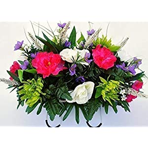 Spring Cemetery Flowers for Headstone and Grave Decoration-Pink Peony and White Rose Mix Saddle