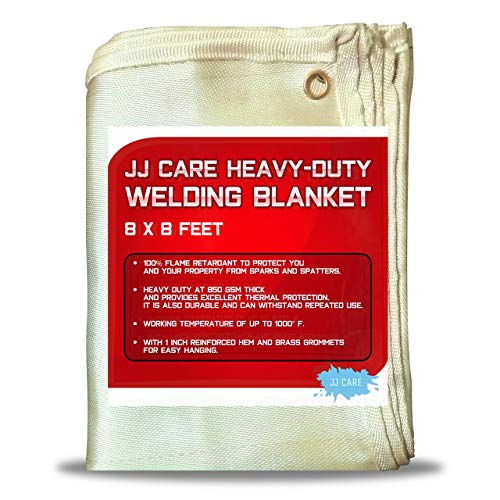JJ CARE [Premium] 8x8 ft Heavy Duty Welding Blanket [850GSM Thick] Fiberglass, Fire Retardant Weld Curtain, Safety Welding Shield, Weld Blanket