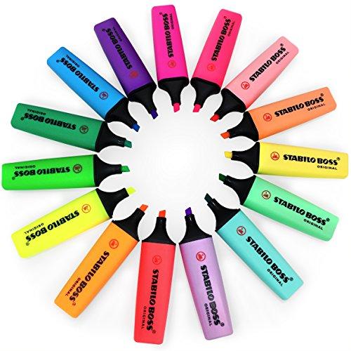 Stabilo Boss Original Fluoreszierende und pastellfarbene Textmarker – Schreibtischset mit 15 sortierten Farben