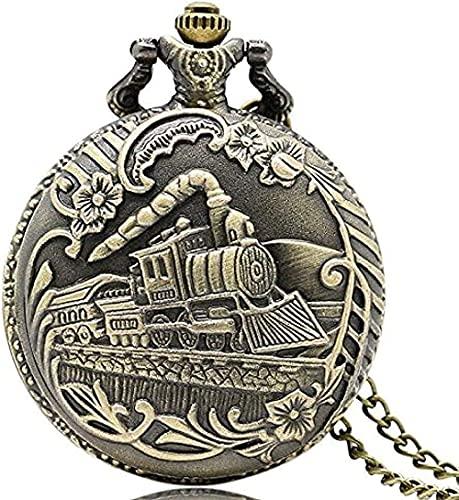 ZPPYMXGZ Co.,ltd Collar Reloj de Bolsillo Vintage Bronce Tren Locomotora Delantera Motor Collar Cuarzo Pedent Cadena de Regalo Reloj de Bolsillo P07 Regalos