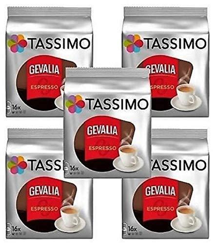 Tassimo T-Discs: Gevalia Espresso Coffee T-Discs Pods (Case of 5 packages; 80 T-Discs Total) by Tassimo