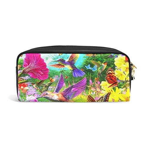 Domoko Stifteetui, Kolibri, Blumen, Schmetterling, Landschaft, Natur, PU-Leder