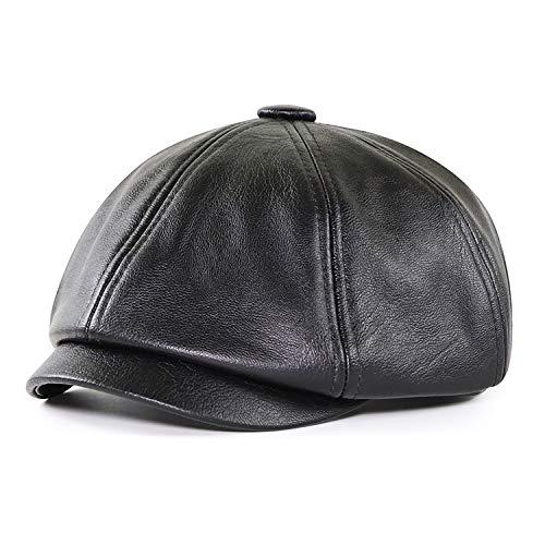 Ueither Pelle PU Cappellino Piatto, Berretto Gatsby Uomo Newsboy Cappello Autunno Invernale