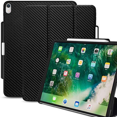 KHOMO iPad Pro 12.9 2017 Smart Cover Hülle Schutzhülle mit Stifthalter für Apple Pencil 1 - Kohlefaser Schwarzes