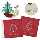Tarjetas de Navidad 3D - SUNSK Pop Up Tarjetas de regalos árbol de Navidad Felicitación Navideña Tarjetas Christmas Cards 2 Piezas