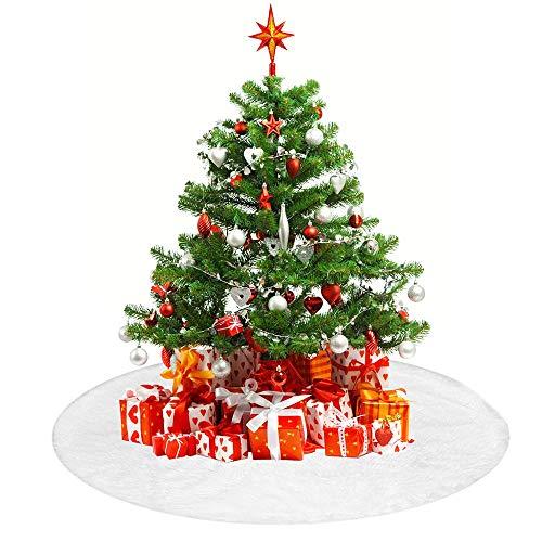 TDCQ Tannenbaumdecke Rund Fell,Weihnachtsbaum Decken,Tannenbaumdecke Rund,Weihnachtsbaumrock Fell,Christbaumdecke Fell,Weihnachtsbaum Rock Korb