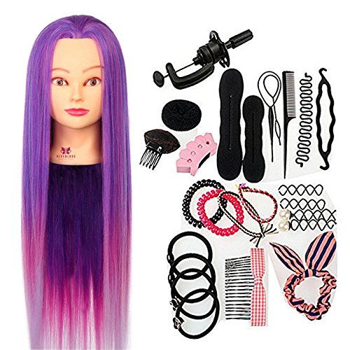 Neverland Practice Hairdressing Training Heads Echthaar Friseurkopf Practice Training Head Synthetic Hair 64 cm Verträ Umtes Purple Hair Styling Braid Set