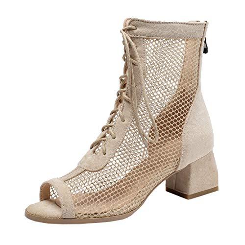 MISSUIT Damen Peeptoe Sommer Stiefeletten Mesh Blockabsatz Ankle Boots mit Schnürung Cut Out Schuhe(Beige,36)