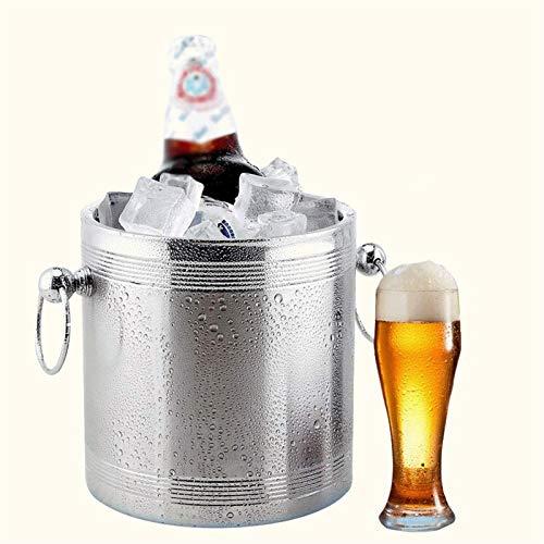 CHJZHXD BTCHFJB Cubo de hielo de doble pared de acero inoxidable con tapa, cubo de hielo compacto de metal resistente con mango y botellas de vino y licor.