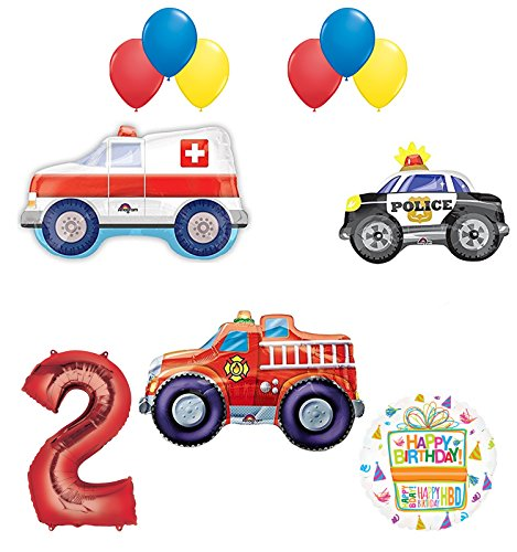 Team Rescue 2nd Birthday Party Supplies and First Responders Balloon Bouquet decorations