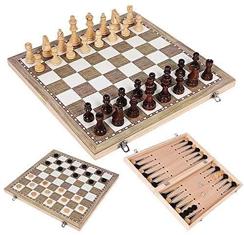 3折れた1チェスセット折りたたみチェスチェスカーセットトラベルチェスボードゲーム子供、子供、大人、大人のための折り板 チェスドラフトセット (Siz