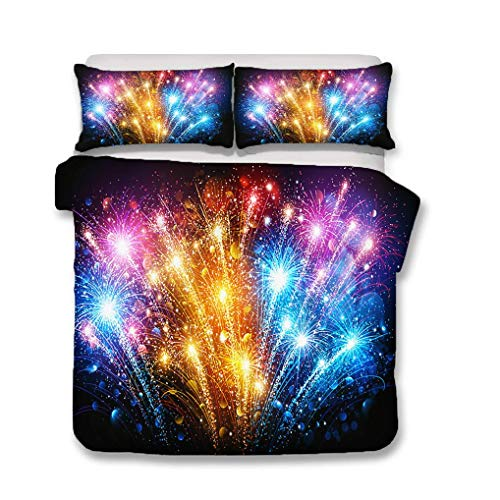 993 Duvet Cover Pillowcase Night Fireworks Silhouettes Colorful Gorgeous Black Bedding Set Family Couple Boy Girl (Style 3,Double 200x200 cm + 50x75 cm * 2)