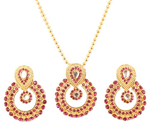 NEW! Touchstone Indian Bollywood Elite Mughal Kundan Look Faux Tourmaline Chand Baali Moon Bridal Designer Jewelry Pendant Set For Women In Gold Tone.