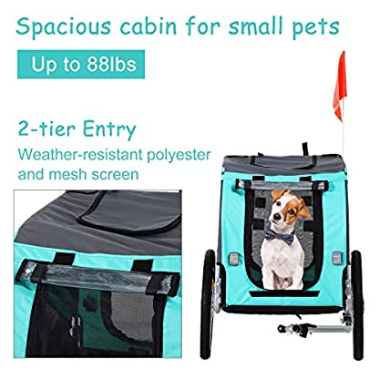 PawHut Folding Dog Bike Trailer Pet Cart Carrier for Bicycle Travel in Steel Frame - Green & Grey 5