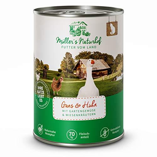 Müllers Naturhof | Nassfutter für Katzen | naturnahe Rezeptur | Gans & Huhn | 6 x 400 g | getreidefrei | 70% Fleischanteil | ohne Tierversuche, Zucker, Farb-, Aroma-, Konservierungsstoffe