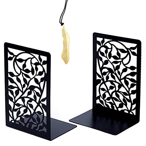 Iycnkok Sujetalibros Sujeta Libros Estantería de Metal, Marcapáginas Incluido, Apoya Soporte Libros Diseño de Hoja, Ideal para...