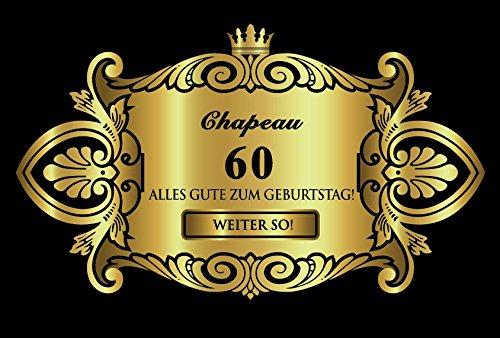 Oblique-Unique® Aufkleber Flaschenetikett Etikett 60 Geburtstag Gold elegant