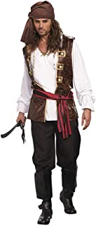 Men's Pirate Costume-Adults Halloween Christmas Party Cosplay Scottish Highland Long Sleeve Shirt with Vest Headband and Belt