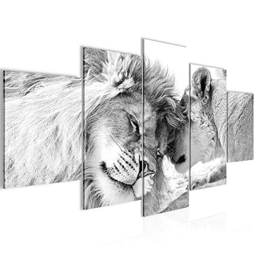 Bilder Löwen Liebe Wandbild Vlies - Leinwand Bild XXL Format Wandbilder Wohnzimmer Wohnung Deko Kunstdrucke Grau 5 Teilig - MADE IN GERMANY - Fertig zum Aufhängen 002153c