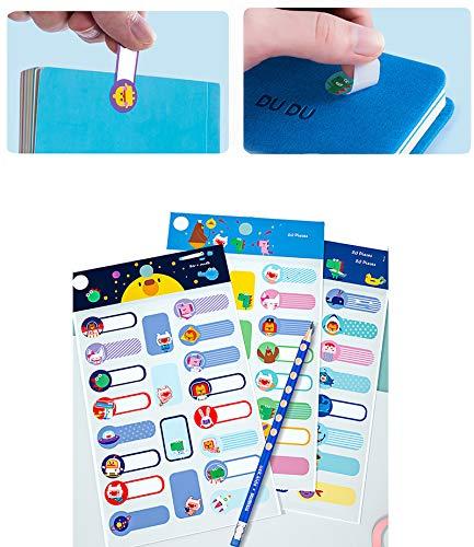 Adhesivo para nombre para niños, etiquetas dibujos animados, pegatinas impermeables. Adecuado para marcar calderas infantiles, cajas de bento, bolígrafos, cajas de lápices, etc.