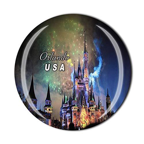 3D Orlando USA Fridge Magnet Souvenir Crystal Glass Tourist Travel Souvenir Collection Gift Orlando Magnet Magnetic Sticker Home Kitchen Decoration