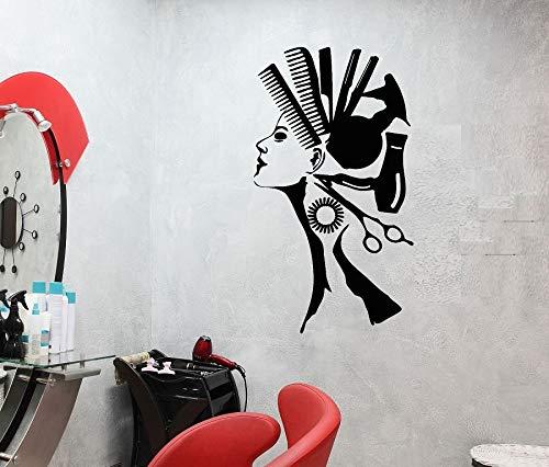 Aplique de pared de salón de pelo para mujer, peluquería abstracta, decoración de pared de barbero, pegatina de aplicación, aplique mural artístico A3 42x75cm