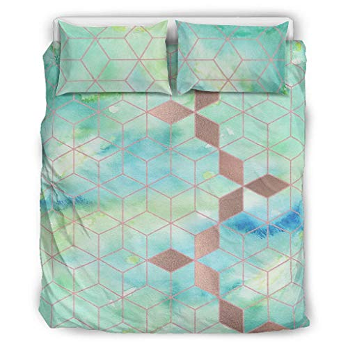 Generic Branded 3-Piece Turquoise Gradient Grid Bedspread Set Retro Duvet Covers and Pillowcases - Modern Art Ultra Soft Bedding Sets White 264 x 229 cm