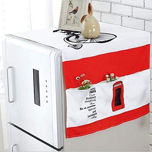 zdw Kühlschrank staubschutz tuch waschmaschine aufbewahrungstasche kühlschrank top cover multifunktions baumwolle und leinen haushaltsstaubschutz größe 55 * 140 cm, farbige blätter,Telefonzelle
