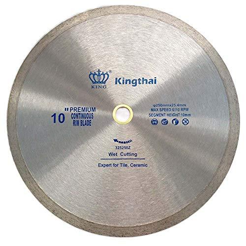 Kingthai 10 Inch Continuous Rim Diamond Saw Blade for Cutting Porcelain Tiles Ceramic,Wet Cutting,7/8